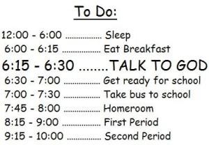 God in schedule